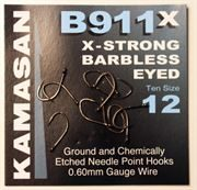 Kamasan B911x X-Strong Barbless Eyed Hooks